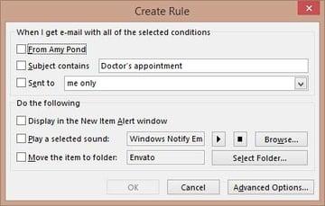Create Outlook rule