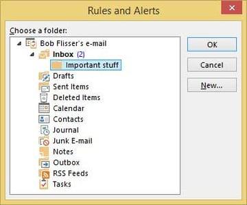Outlook rules folder tree