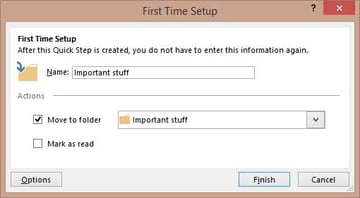 Outlook quick step settings