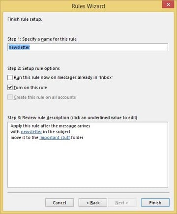 Outlook rules wizard