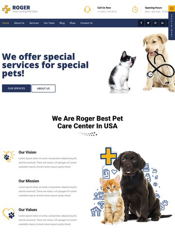 Roger - Pet Care WordPress Theme