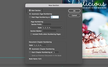 Start InDesign Page Numbering Section