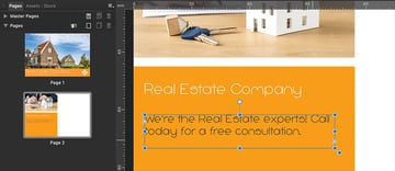 Affinity Publisher Real Estate Postcard Frame Text Tool