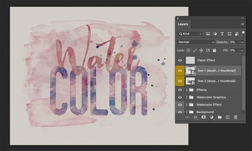 Put Texture On Text Water Color