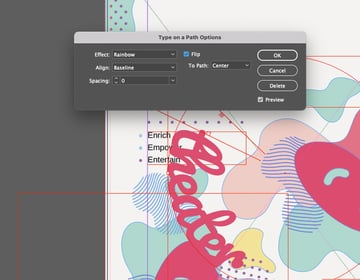 Curve Text InDesign Settings Flip