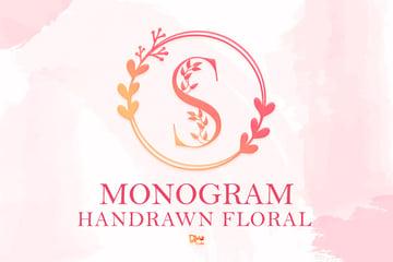 Floral Silhouette Monogram Font