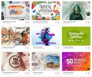 Enjoy unlimited downloads of watercolor brushes for Photoshop from Envato Elements.
