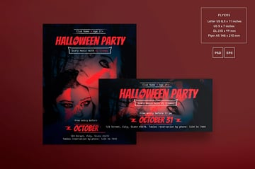 Halloween Party Flyer and Poster Templates (EPS, PSD, JPG)