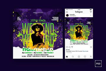 Instagram Halloween Party Flyer Template (PSD)
