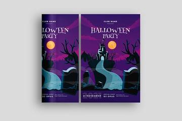 Simple Halloween Party Invitation Template (EPS, AI, JPG)