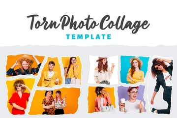 Torn Photo Collage Template (PSD)