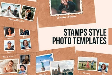 Stamps Style Photo Collage Templates (PSD)