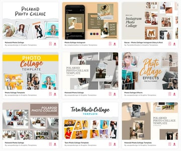 Enjoy unlimited downloads of photo collage templates from Envato Elements.