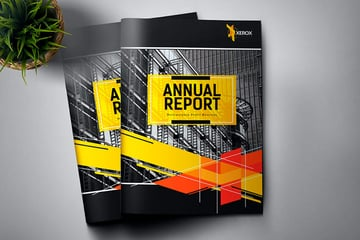 This is an Annual Report Design with a bold cover.