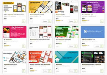 The best restaurant app templates are from CodeCanyon.