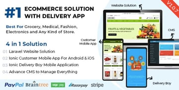 Best Ecommerce Solution with Delivery App Any Stores / Laravel + IONIC5