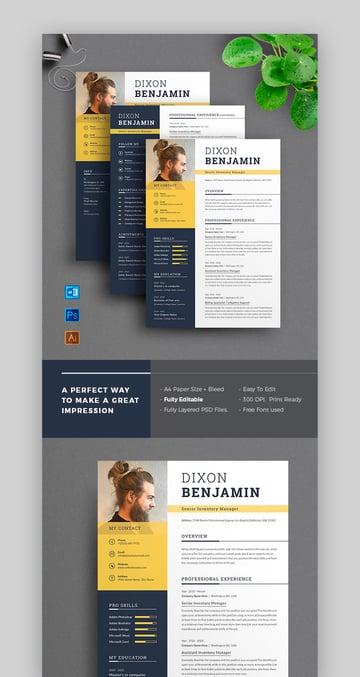 Photoshop resume templateYes