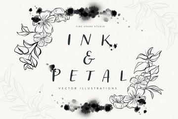 Ink and Petal Floral Vector Illustrations (EPS, JPG, PSD, SVG, PNG)