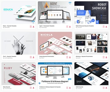 Some of the beautiful Keynote templates available through Envato Elements.