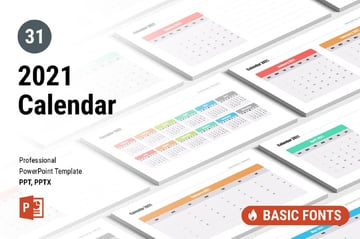 PowerPoint calendar template 2021 from Envato Elements
