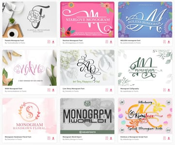 Enjoy unlimited downloads of monogram fonts from Envato Elements