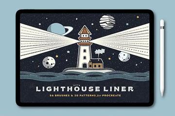 Lighthouse Procreate Line Art Brushes