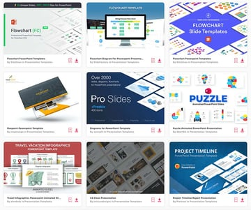Top PowerPoint Flowchart templates from Envato Elements.