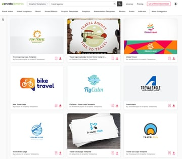 unlimited downloads of travel logos from Envato Elements