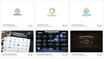 unlimited downloads of photography logos from Envato Elements