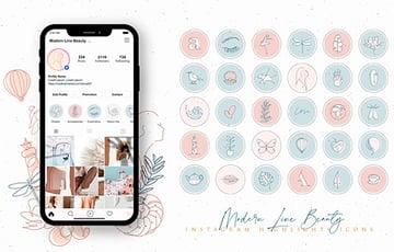 Beauty Line Instagram Highlight Templates (JPG, PNG)