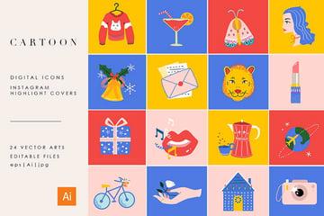 24 Cartoon Highlight Icon Set (EPS, AI, JPG)