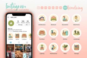 Home Living Instagram Highlight Icons (AI, EPS, PDF, JPG, PNG, SVG)