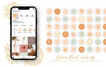 Modern Beauty Instagram Highlight Templates (JPG, PNG)