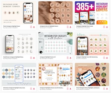 Enjoy unlimited Instagram highlight templates from Envato Elements.