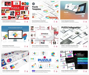 For a flat fee, you can source unlimited PowerPoint puzzle templates from Envato Elements.