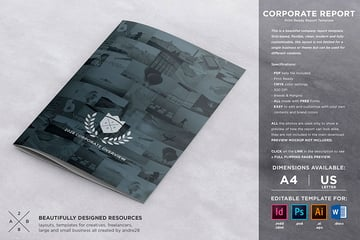 Corporate Report Brochure Template (INDD, PSD, AI, EPS, DOCX)
