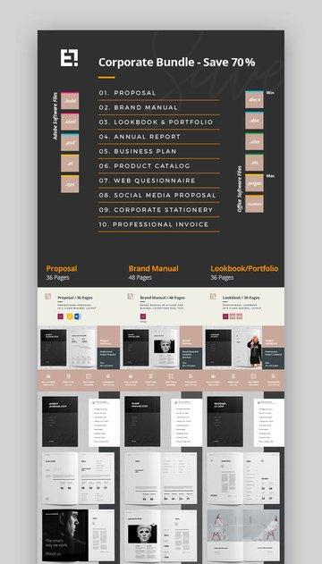 Company Bundle Affinity Publisher Templates (INDD, AFPUB, PSD, AI)