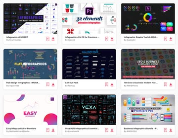 Envato Elements offers you unlimited downloads of Premiere Pro infographics templates.