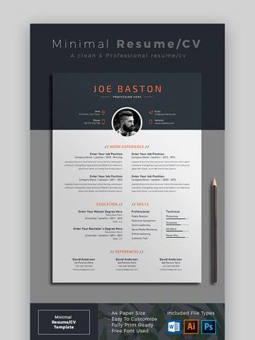 Minimal Resume - Stunning Resume Template