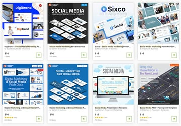 GraphicRiver gives you the option to buy single social media report template PPTs.