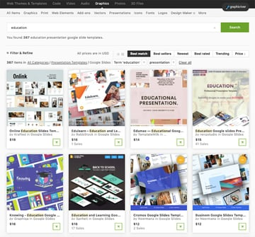 Google templates for teachers available in Graphicriver