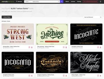 Get the best tattoo fonts in Envato Elements