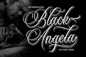 Black Angela Tattoo Script Font