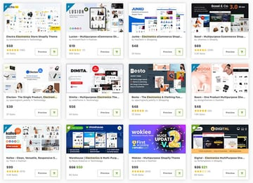 Buy templates for electronics Shopify stores (one at a time) from ThemeForest.