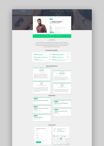 Material CV Resume vCard Profile CSS Template