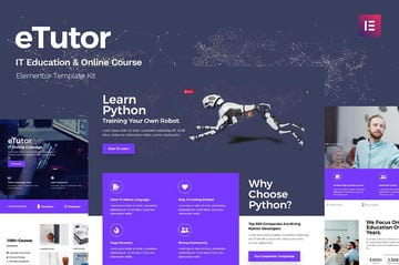 eTutor - Education  Online Course Elementor Template Kit
