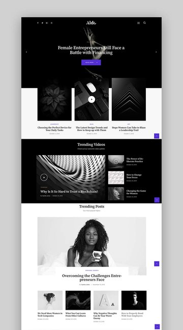 Aldo - Black and White Gutenberg Blog WordPress Theme