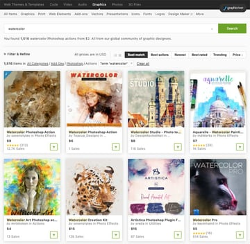 Choose from our variety of unique watercolor effects in Graphicriver