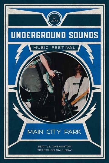 Underground Music Festival Grunge Flyer