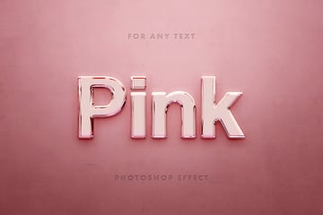 Pink Glass 3D Text Effect Photoshop